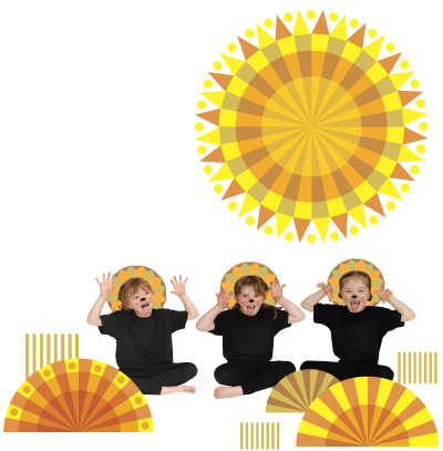 Children demonstrating the lion pose